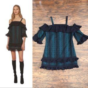 Red Carter • Billie mini dress green cold shoulder